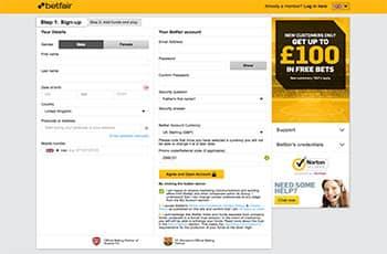 betfair registration page