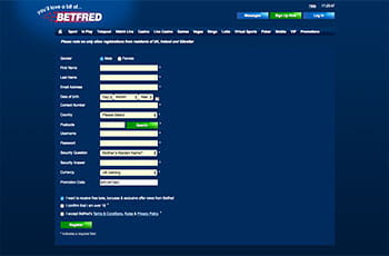 Betfred registration page
