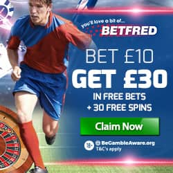betfred bet £10 get £30 in free bets