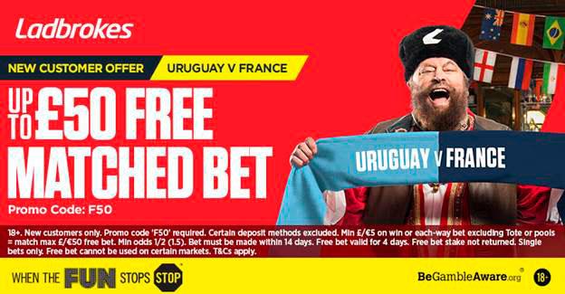 £50 Free Bet Uruguay v France Ladbrokes