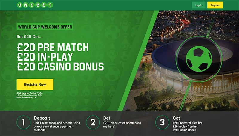 Unibet World Cup £60 Welcome Offer